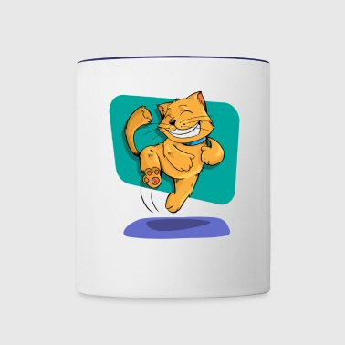 Jumping Golden Brown Cat - Contrast Coffee Mug