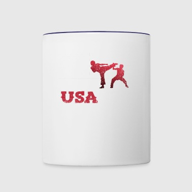Tae Kwon Do American Flag Team Martial Arts Karat - Contrast Coffee Mug