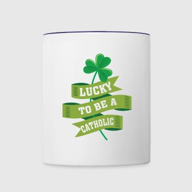 Lucky To Be Catholic - Catholic irish Pr - Contrast Coffee Mug