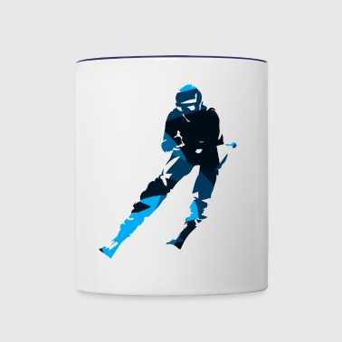 Silhouettes man skiing sport vector cartoon image - Contrast Coffee Mug
