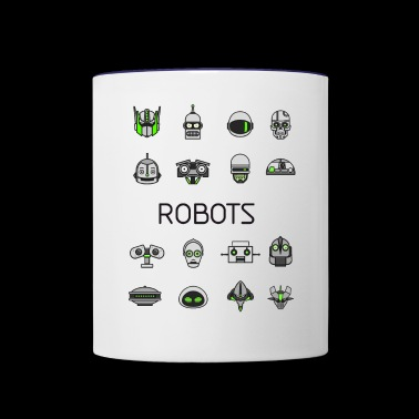robots space man android nerd game comic men scifi - Contrast Coffee Mug