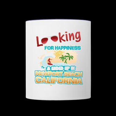 Looking Happiness up in Newport Beach California - Contrast Coffee Mug