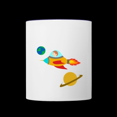 galaxy rocket space travel gift idea - Contrast Coffee Mug