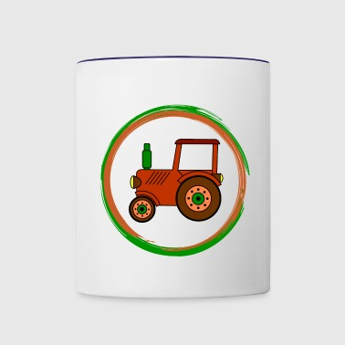 brown toy tractor / toy tractor - Contrast Coffee Mug