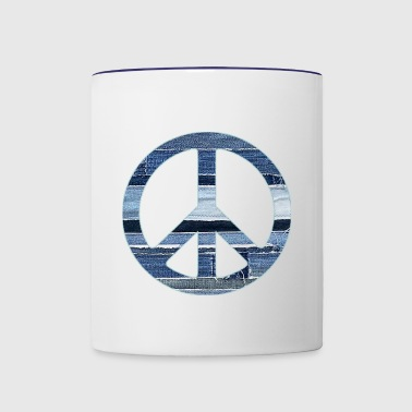 denim peace sign2 - Contrast Coffee Mug