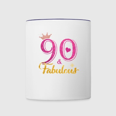 90 Fabulous Queen Shirt 90th Birthday Gifts - Contrast Coffee Mug