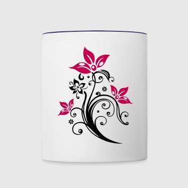 Flowers with filigree floral ornament. - Contrast Coffee Mug