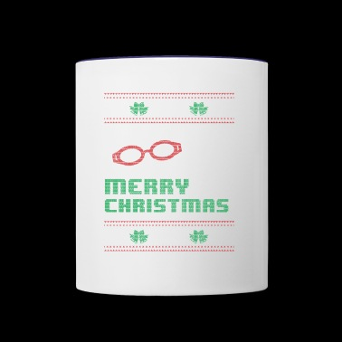Funny Swim Swimming Shirt Merry Christmas - Contrast Coffee Mug