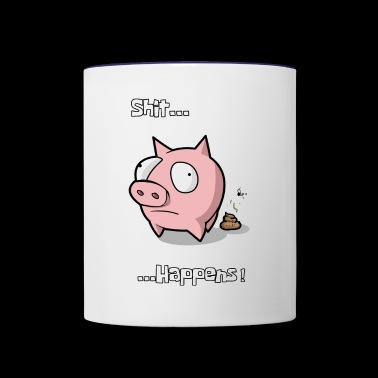 Pig Piggy Piglet Sow Shit Happens - Contrast Coffee Mug