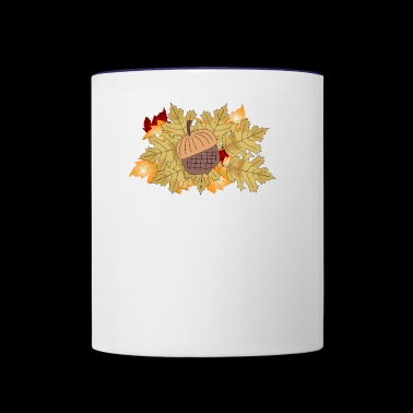 Autumn acorn whith leaves - Contrast Coffee Mug