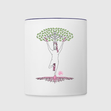 Tree Pose Unicorn With Leaves And Roots Outline - Contrast Coffee Mug