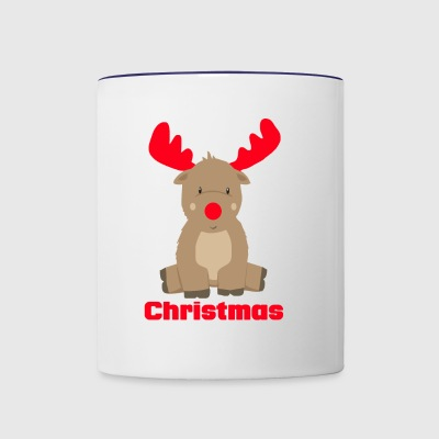 Cute Baby Moose red Merry chrstmas funny tshirt - Contrast Coffee Mug