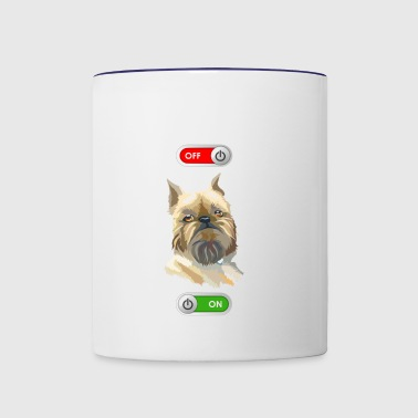Working Job OFF Brussels Griffon terrier dog ON - Contrast Coffee Mug