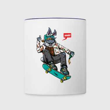Rabbit skateboard - Contrast Coffee Mug