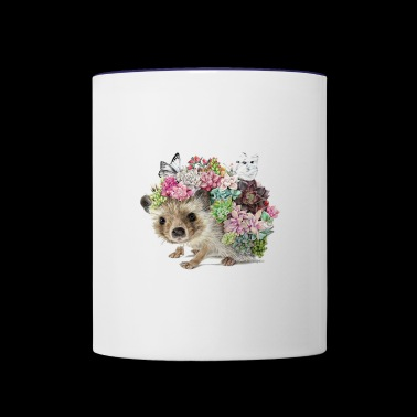 Cute Hedgehog And Flower - Contrast Coffee Mug