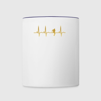evolution ekg heartbeat football running back leag - Contrast Coffee Mug