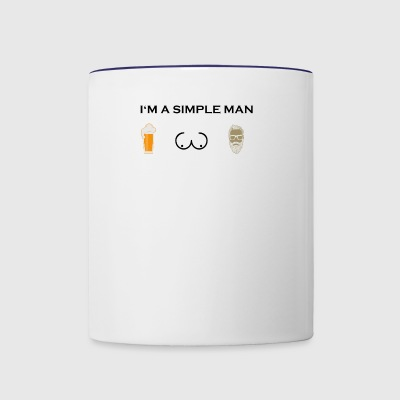simple man boobs bier beer titten Bart Haare beard - Contrast Coffee Mug