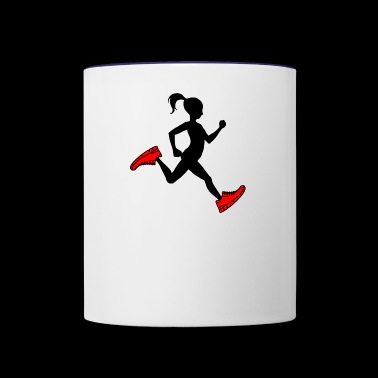 running girl - Contrast Coffee Mug