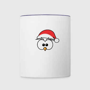 Eyes with Christmas hat and beak - Contrast Coffee Mug