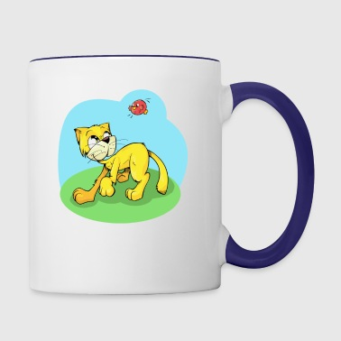 Funny Cat and Red Sparrow - Contrast Coffee Mug