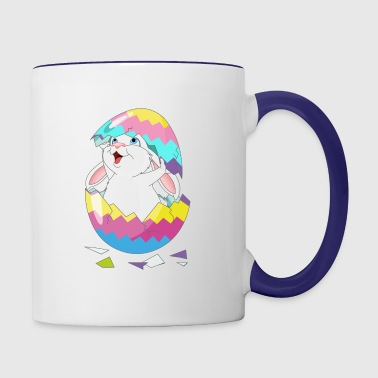 Easter Bunny in Egg, Easter egg hatches bunny - Contrast Coffee Mug