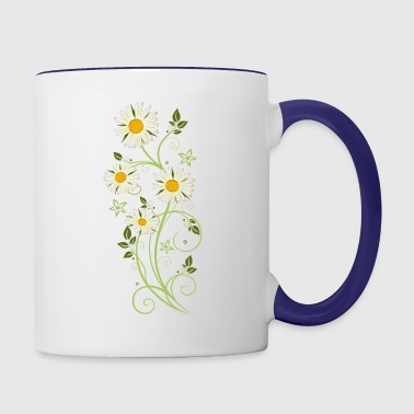 Filigree tendril with Marguerites, daisies - Contrast Coffee Mug