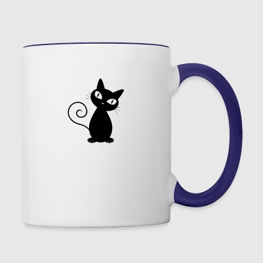 black_cat_sitting_and_looking - Contrast Coffee Mug
