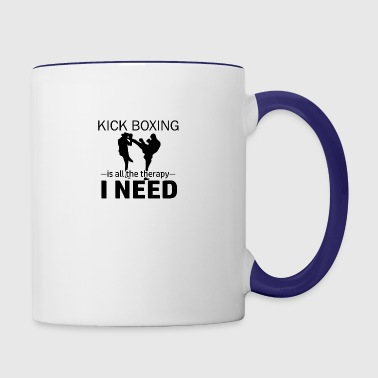 Kick Boxing is my therapy - Contrast Coffee Mug