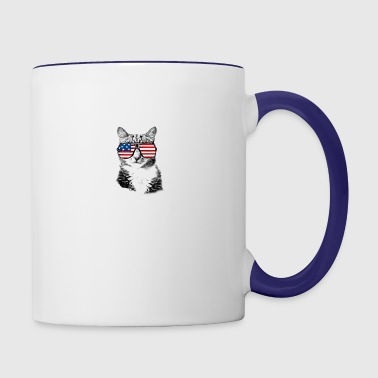 Meowica with US flag sunglasses in space - Contrast Coffee Mug