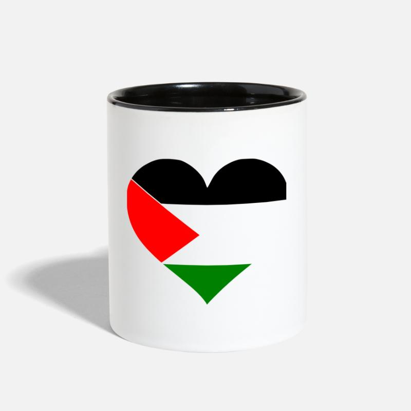 Antifa Mugs & Drinkware - Palestine Heart - Two-Tone Mug white/black