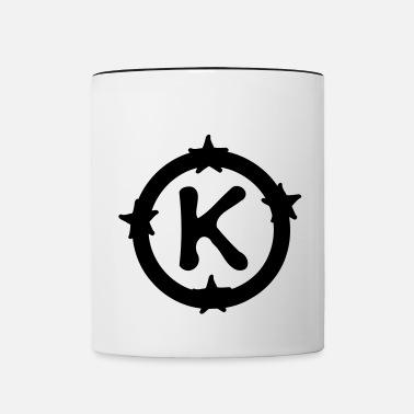 Letter K & circle stars pattern Water Bottle - silver