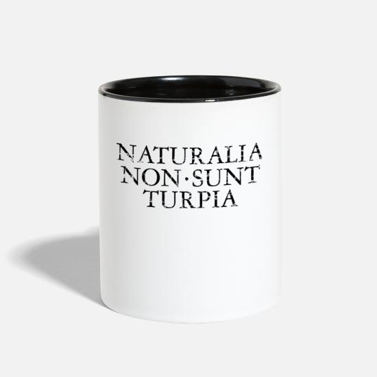 Latin Mugs & Drinkware - NATURALIA NON SUNT TURPIA Vintage Black - Two-Tone Mug white/black