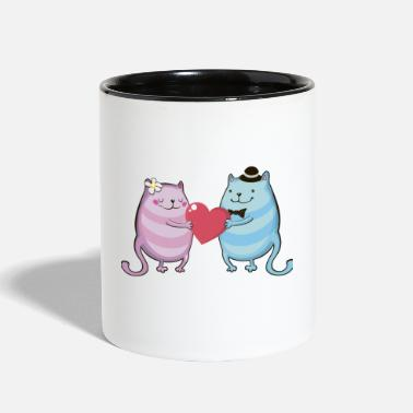 Couples couple of lovers cats - Two-Tone Mug