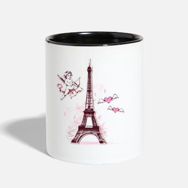 Valentines &amp Eiffel Tower & Hearts - Two-Tone Mug