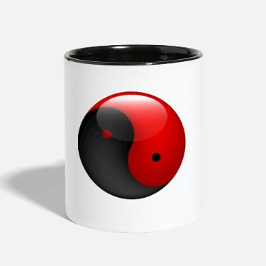 Culture &amp Ying yang red & black - Two-Tone Mug