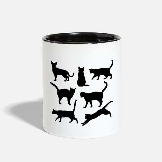 Animal Mugs & Drinkware - Black and white Cats Body language - Two-Tone Mug white/black