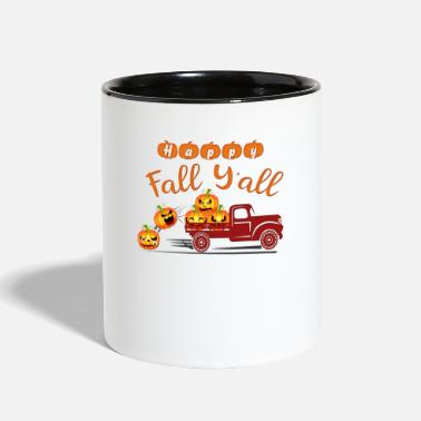 Fall Happy Fall Funny Pumpkin Shirt Truck Halloween Tee - Two-Tone Mug
