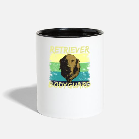 Retriever Mugs & Drinkware - Retriever Bodyguard, Golden Retriever - Two-Tone Mug white/black