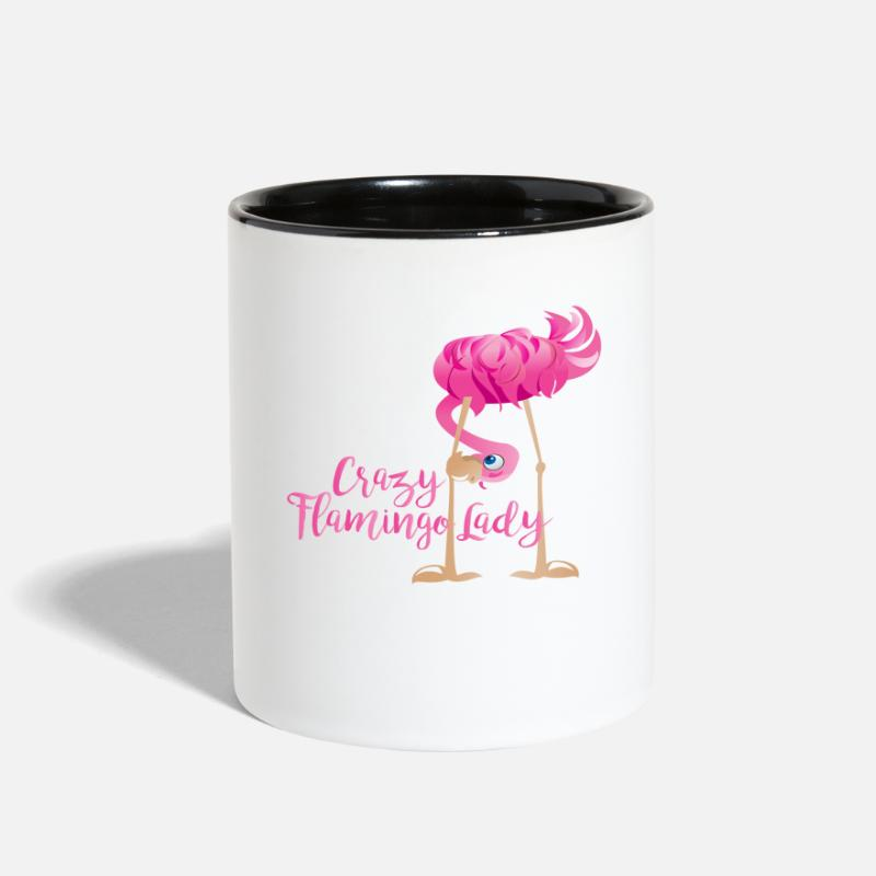 Crazy Mugs & Drinkware - Crazy Flamingo Lady - Two-Tone Mug white/black