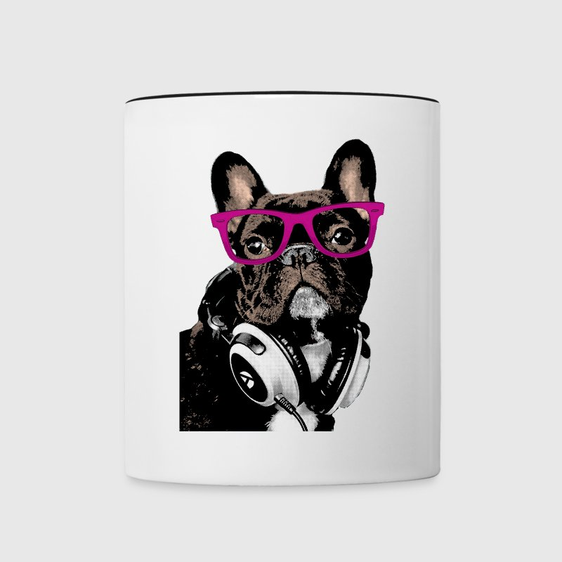 Hipster Frenchie - Contrast Coffee Mug