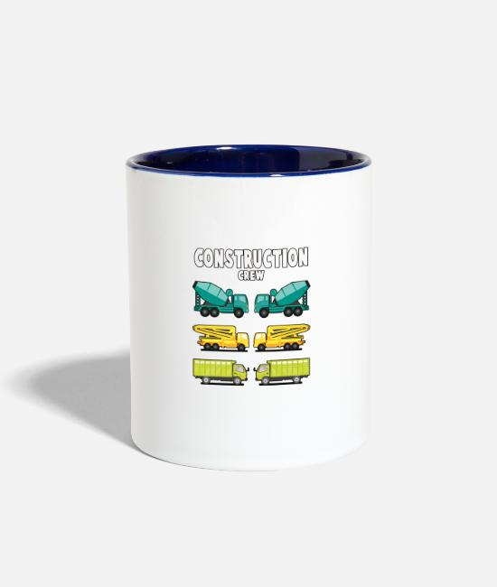 Building Mugs & Cups - Construction Crew. Brotherhood's Gift Item. - Two-Tone Mug white/cobalt blue