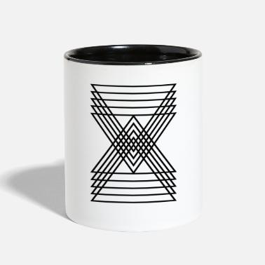 Geometric Triangle Hourglass Line Shape - Two-Tone Mug
