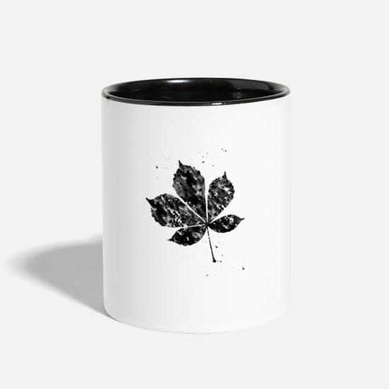 Art Mugs & Drinkware - Chestnut Leaf - Two-Tone Mug white/black