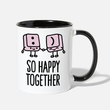 Valentine's Day Keyboard keys smiley - So happy together - Contrast Coffee Mug