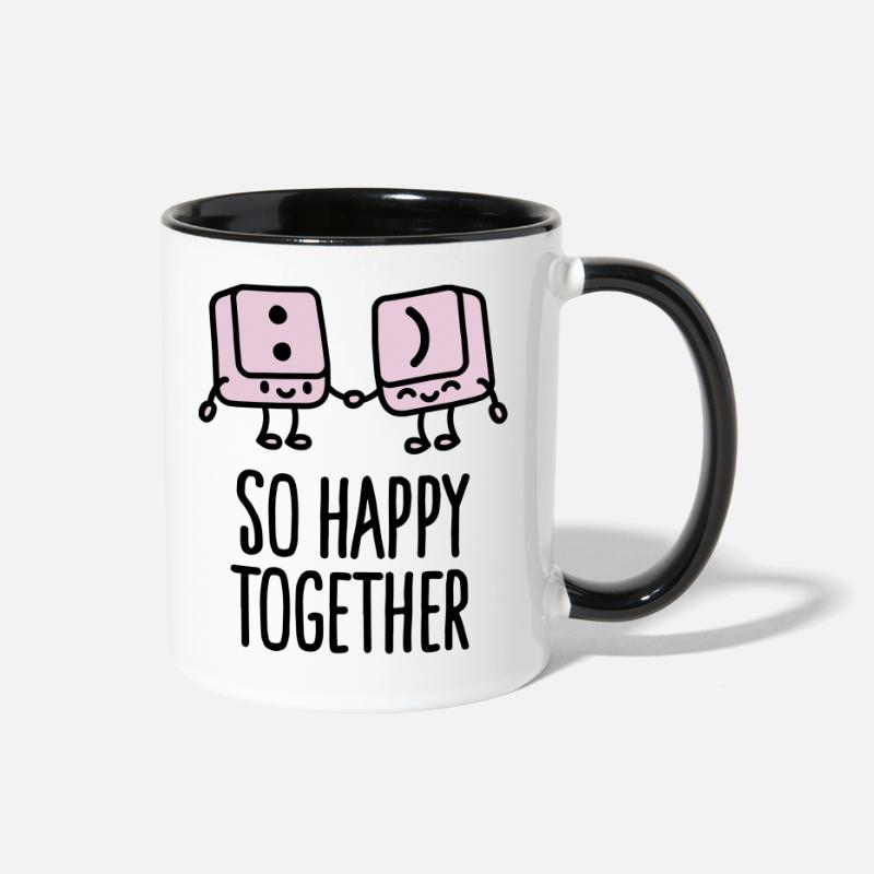 Valentine's Day Mugs & Drinkware - Keyboard keys smiley - So happy together - Two-Tone Mug white/black