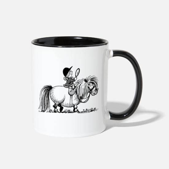 Pony Mugs & Drinkware - Thelwell Penelope Riding A Pony - Two-Tone Mug white/black