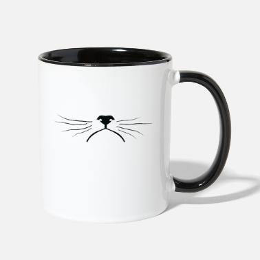 Lynx Grumpy cat's face with mustaches - Two-Tone Mug