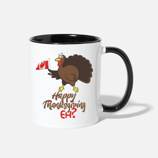 Quebec Mugs & Drinkware - Canadian Humor product Happy Thanksgiving Eh? - Two-Tone Mug white/black