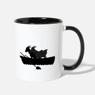 Boat 2 goats in a boat - Two-Tone Mug
