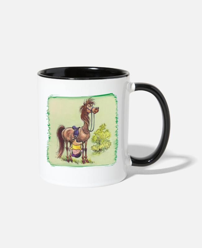Riding Academy Mugs & Cups - Thelwell Rider Hangover under Pony - Two-Tone Mug white/black